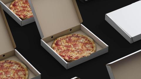 Conveyor is boxed pizza loop Animación