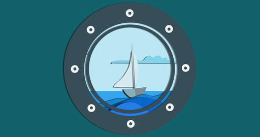 Sea view through the porthole cruise ship Animation