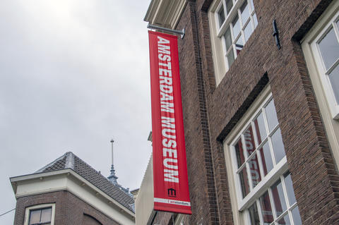 Flag From The Amsterdam Museum At Amsterdam The Netherlands 2018 Fotografía