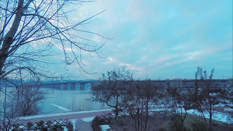 Time laps, view of the Paton Bridge over the Dnieper River in Kiev in early Footage