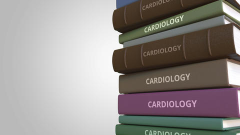 Stack of books on CARDIOLOGY, loopable 3D animation Live Action