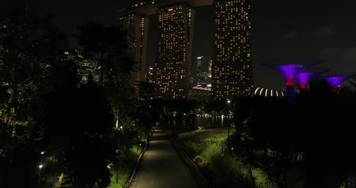Singapore night garden and hotel Live Action