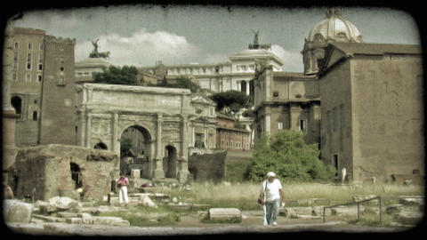 Rome Ruins 1. Vintage stylized video clip Footage