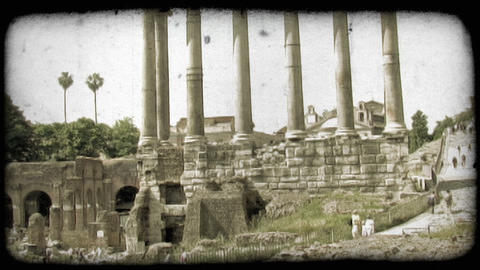 Rome Ruins 4. Vintage stylized video clip Footage
