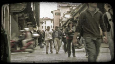 Italian Sidewalk 2. Vintage stylized video clip Footage