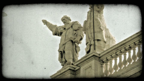 Rome Statues 2. Vintage stylized video clip Footage