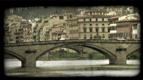 Italian Bridge 1. Vintage stylized video clip Footage