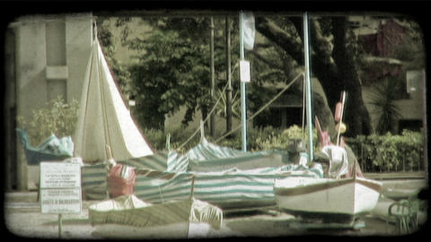 Italian Boats 3. Vintage stylized video clip Footage
