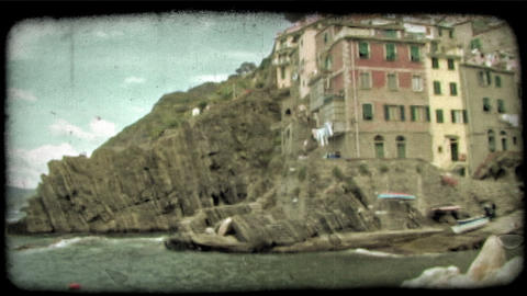 Italian Harbor 3. Vintage stylized video clip Footage