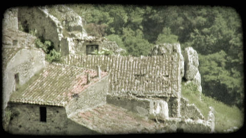 High-angle footage of ruined stone building. Vintage stylized video clip Footage