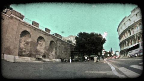 Low-angle footage of wall near Rome's Colosseum. Vintage stylized video clip Footage