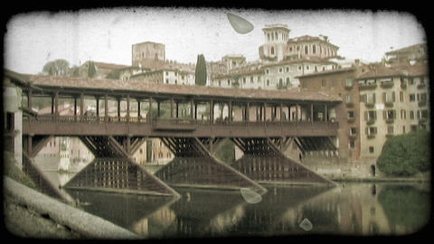 Covered Bridge 1. Vintage stylized video clip Footage