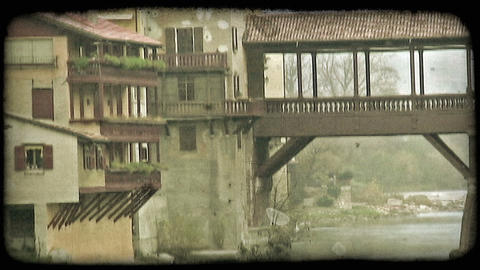 Covered Bridge 4. Vintage stylized video clip Footage