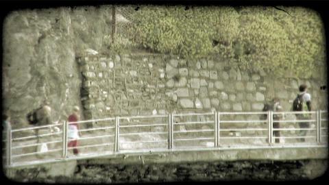 Oceanside Walkway 1. Vintage stylized video clip Footage