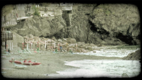 Beach front 1. Vintage stylized video clip Stock Video Footage