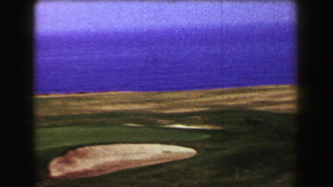1967: Famous Pebble Beach golf course ocean views drought year dry brown grass Footage