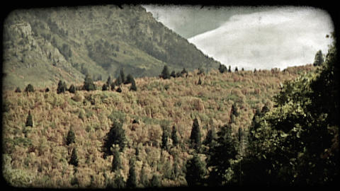 Autumn mountain scenery. Vintage stylized video clip Footage