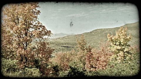 Colorful mountain scenery. Vintage stylized video clip Footage