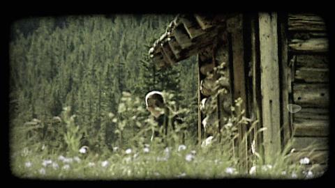 Girl in cabin. Vintage stylized video clip ビデオ
