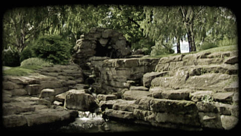 Quiet park and pond. Vintage stylized video clip Footage