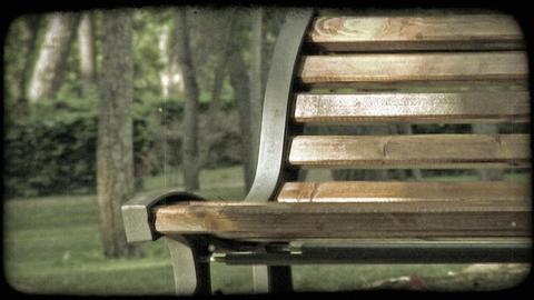 Park bench. Vintage stylized video clip Footage