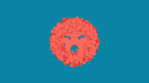 Behind the squares appears the symbol sad cry. In - Out. Alpha channel Animation