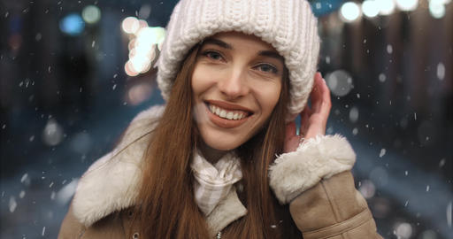 Portrait of Smiling Girl at Night Footage