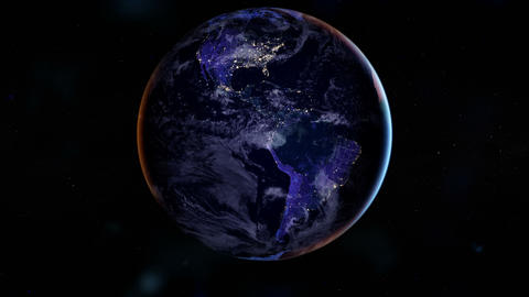 Night side of the Earth with city lights. North America and South America. Zoom Animation