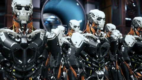 The camera flies past a detachment of robot soldiers on a spaceship. Super Animation