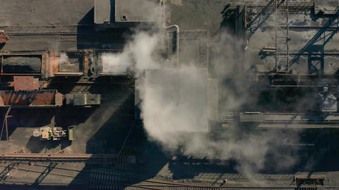 Aerial view. Coke plant. Coke batteries. Old factory. Industrial view Footage