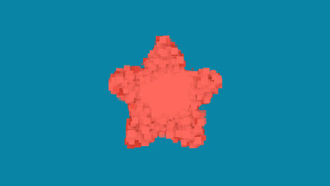 Behind the squares appears the symbol star. In - Out. Alpha channel Animation