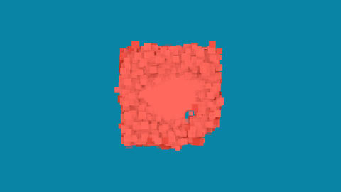 Behind the squares appears the symbol sticky note. In - Out. Alpha channel Animation