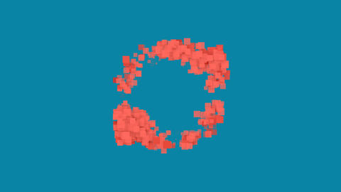 Behind the squares appears the symbol sync . In - Out. Alpha channel Animation