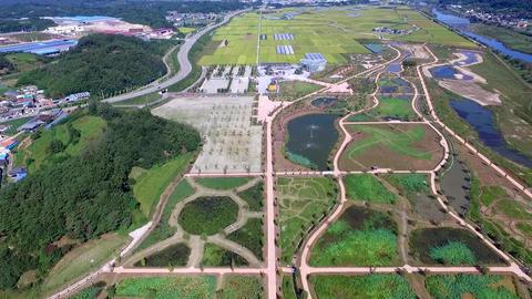 Aerial View of Changpowon Botanical garden, Geochang, Gyeongnam, South Korea, Footage