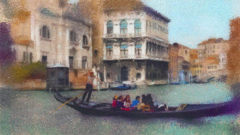 Oil painting stylization video of gondola in a canal in Venice, Italy GIF