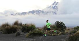 Running man runner in nature landscape enjoying training run Footage