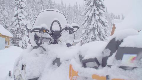 Blizzard in skitouring lodge in Siberia Live Action