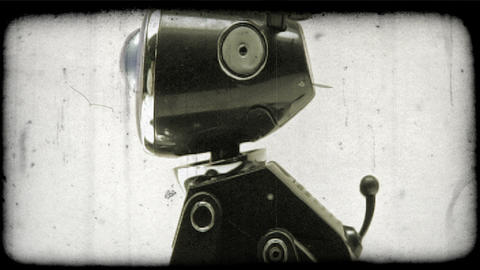 Shot of a robotic dog. Vintage stylized video clip Footage