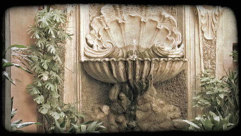 Rome Fountain 1. Vintage stylized video clip Footage