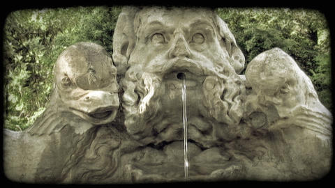Rome Fountain 5. Vintage stylized video clip Footage