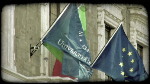 Static shot of flags on the facade of the University of Pisa building. Vintage s Footage