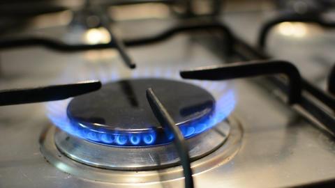 Flames on gas stove burner Footage