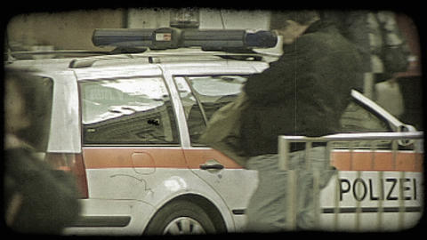 A police car going through the streets of Rome, Italy. Vintage stylized video cl Footage