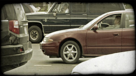Waiting cars. Vintage stylized video clip Live Action