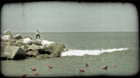 Italian Fisherman. Vintage stylized video clip Footage