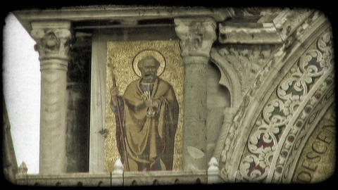 Static shot of a fresco painting on a church wall. Vintage stylized video clip Footage