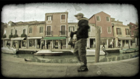 Venice Canal 5. Vintage stylized video clip Footage
