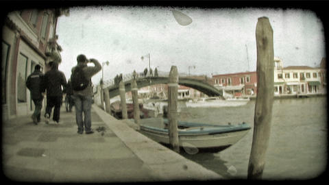 Venice Canal 7. Vintage stylized video clip Footage