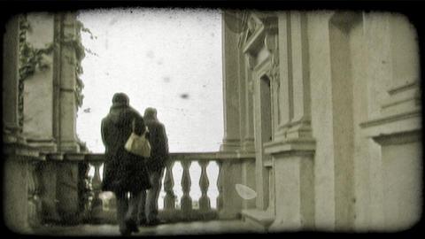 Balcony Talk. Vintage stylized video clip Footage