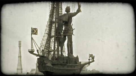 Statue in Moscow. Vintage stylized video clip Footage